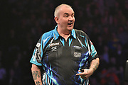 Phil Taylor  during the Betway Premier League Darts at the Manchester Arena, Manchester, United Kingdom on 23 March 2017. Photo by Mark Pollitt.