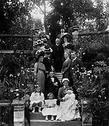 France c 1900 Family  group photograph showing several generations of one family in a garden