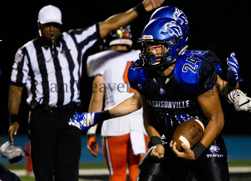 Isaiah Patrick celebrates recovering a fumble on the Platte County 4-yard line Friday night at Memorial Stadium. The Wildcats scored on the next play, but fell short with the comeback, 20-12.