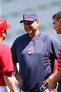 ANAHEIM, CA - APRIL 30:  Manager Terry Francona #17 of the Cleveland Indians has a laugh as he chats with a player before the game against the Los Angeles Angels of Anaheim at Angel Stadium on Wednesday, April 30, 2014 in Anaheim, California. The Angels won the game 7-1. (Photo by Paul Spinelli/MLB Photos via Getty Images) *** Local Caption *** Terry Francona
