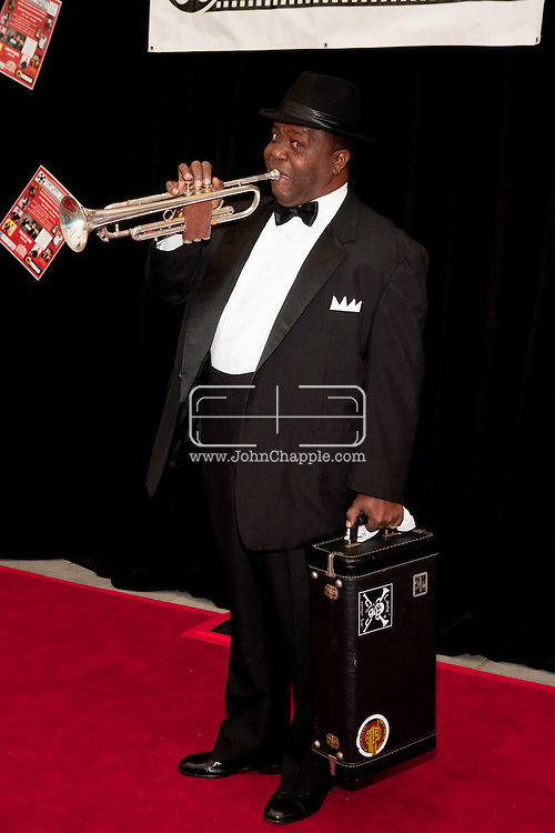 """24th February 2011. Las Vegas, Nevada.  Celebrity Impersonators from around the globe were in Las Vegas for the 20th Annual Reel Awards Show. Pictured is Troy """"Satchmo"""" Anderson as Louis Armstrong. Photo © John Chapple / www.johnchapple.com.."""