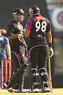 Ali Waqas of the Faisalabad Wolves and Khuram Shahzad of the Faisalabad Wolves during the Qualifier 1 match of the Karbonn Smart Champions League T20 (CLT20) between Otago Volts and the Faisalabad Wolves held held at the Punjab Cricket Association Stadium, Mohali on the 17th September 2013<br /> <br /> Photo by Ron Gaunt/CLT20/SPORTZPICS<br /> <br /> <br /> Use of this image is subject to the terms and conditions as outlined by the CLT20. These terms can be found by following this link:<br /> <br /> http://sportzpics.photoshelter.com/image/I0000NmDchxxGVv4<br /> <br /> ENTER YOUR EMAIL ADDRESS TO DOWNLOAD