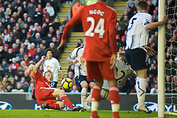 LIVERPOOL, ENGLAND - Saturday, January 30, 2010: Liverpool's Dirk Kuyt scores his side's opening goal against Bolton Wanderers during the Premiership match at Anfield. (Photo by: David Rawcliffe/Propaganda)