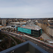 Construction of the Westfield shopping mall, Bradford, February 2014. The site was cleared by the end of 2006. Due to the global financial downturn, the developers were unable to attract flagship department stores to the project until 2013. Construction work began in January 2014.
