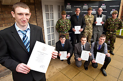 Mayor of Barnsley cllr Karen Dyson presents Oath of Allegiance certificate to Jamie Warren and (back row left to right) Rikki Cardwell, Mathew Beaumont, David Dickinson, Kane Bradbury (front Row left to right) Dale Kirk, Ashley Brown, Daniel Crossland<br /> http://www.pauldaviddrabble.co.uk<br /> 24 February 2012<br /> Image © Paul David Drabble