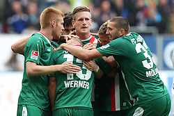 14.09.2013, SGL Arena, Augsburg, GER, 1. FBL, FC Augsburg vs SC Feiburg, 5. Runde, im Bild l-r: Mathias Fetsch #21 (FC Augsburg), Tobias WERNER #13 (FC Augsburg), Andre HAHN #28 (FC Augsburg), Matthias OSTRZOLEK #19 (FC Augsburg) und Sascha MOELDERS #33 (FC Augsburg) // during the German Bundesliga 5th round match between FC Augsburg vs SC Feiburg at the SGL Arena in Augsburg, Germany on 2013/09/14. EXPA Pictures © 2013, PhotoCredit: EXPA/ Eibner/ Christian Kolbert<br /> <br /> ***** ATTENTION - OUT OF GER *****