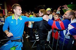 Robert Sabolic, ice hockey player at reception of Slovenia team arrived from Winter Olympic Games Sochi 2014 on February 19, 2014 at Airport Joze Pucnik, Brnik, Slovenia. Photo by Vid Ponikvar / Sportida