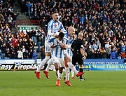 Goal celebration by Huddersfield Town's Rajiv van La Parra  during the Premier League match between Huddersfield Town and West Bromwich Albion at the John Smiths Stadium, Huddersfield, England on 4 November 2017. Photo by Paul Thompson.