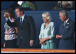 Image licensed to i-Images Picture Agency. 23/07/2014. Glasgow, United Kingdom. Prince of Wales, Duchess of Cornwall ,Prime Minister David Cameron and Samantha Cameron at opening  ceremony of the Commonwealth Games in Glasgow. Picture by Stephen Lock / i-Images