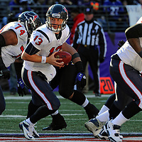 15 January 2012: Houston Texans quarterback T.J. Yates (13) in action against the Baltimore Ravens in the Divisional Playoff at M&T Bank Stadium in Baltimore, MD. The Ravens defeated the Texans 20-13 to advance to the AFC Championship game..