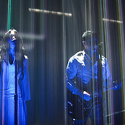 SILVER SPRING, MD - April 30th  2013 -  How To Destroy Angels, the new band from Trent Reznor (right) featuring his wife Mariqueen Maandig (left), performs at the Fillmore Silver Spring in Silver Spring, MD. The band brought a stadium-sized light show to the club, performing behind a complex system of fiber optic cables that changed color and shape.  (Photo by Kyle Gustafson/For The Washington Post)