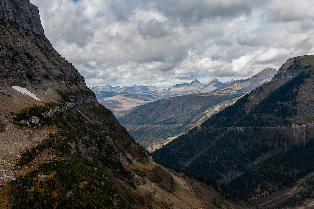 A view of the valley and Going to the Sun Road in Glacier National Park, Montana, Tuesday, October 7, 2014. This u-shaped valley was created by a glacier from the ice age that ended 12,000 years ago.