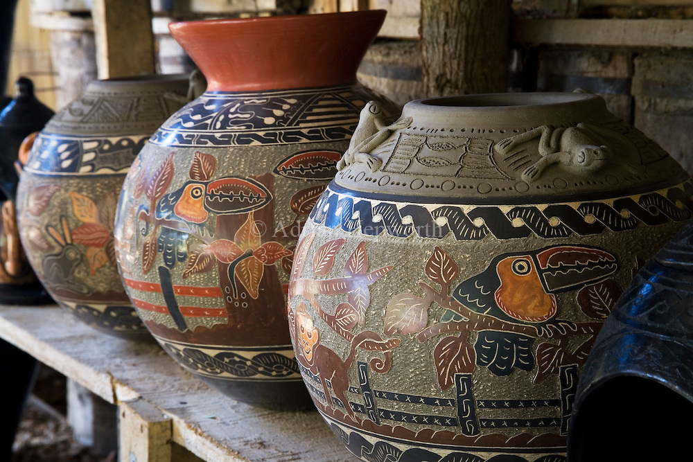 Pottery on display in the village of Guatil near Santa Cruz, Guanacaste, Costa Rica.<br />