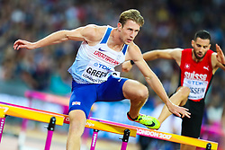 London, 2017 August 07. Jack Green, Great Britain, in the Men's 400m hurdles semi-final on day four of the IAAF London 2017 world Championships at the London Stadium. © Paul Davey.