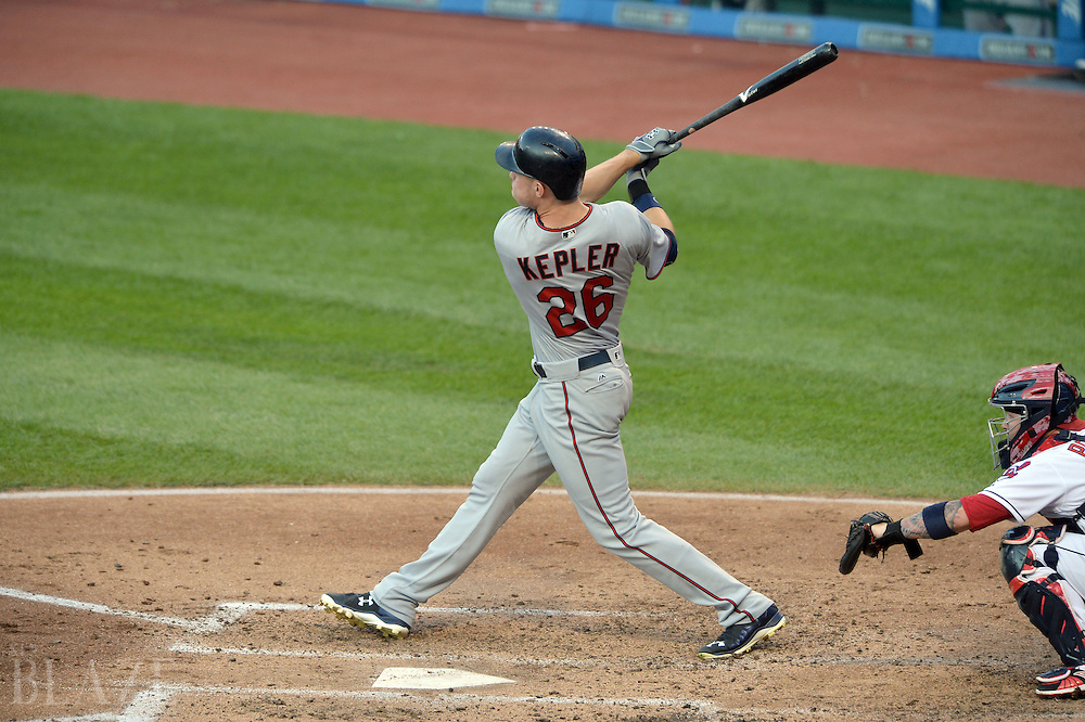 Aug 2, 2016; Cleveland, OH, USA; Minnesota Twins right fielder Max Kepler (26) hits a home run during the third inning against the Cleveland Indians at Progressive Field. Mandatory Credit: Ken Blaze-USA TODAY Sports