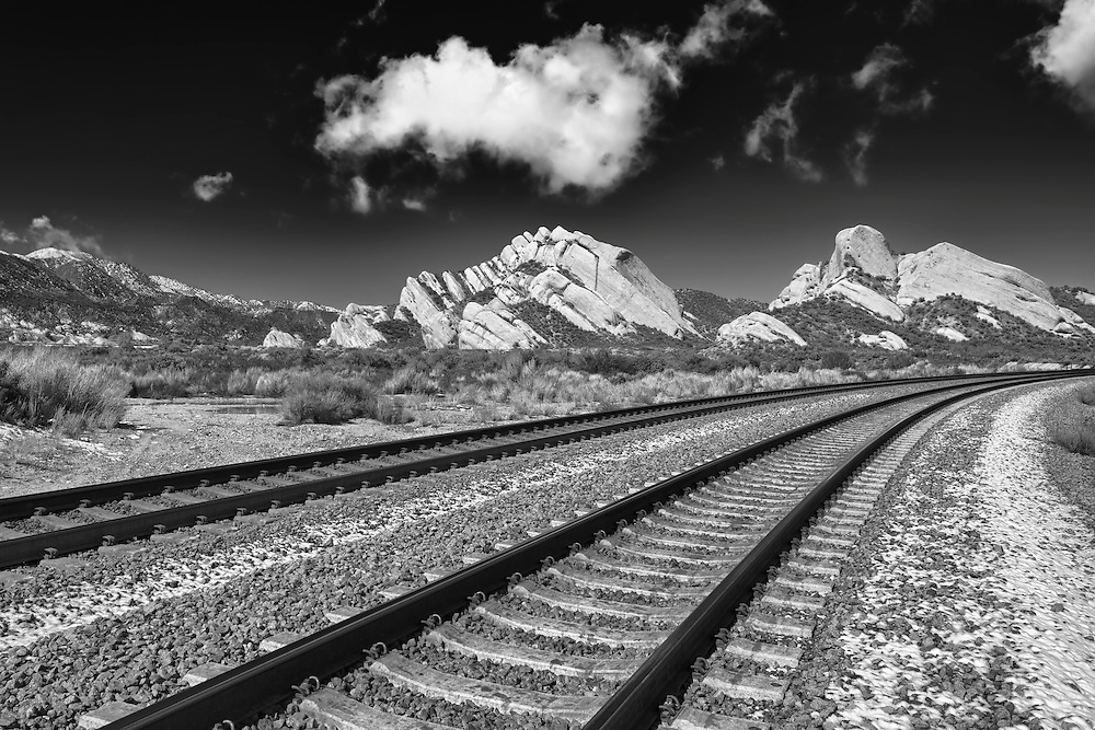 Mormon Rocks - Light Snow Covered Railway - HDR - Infrared Black & White