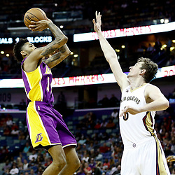 Nov 29, 2016; New Orleans, LA, USA; Los Angeles Lakers forward Brandon Ingram (14) shoots over New Orleans Pelicans center Omer Asik (3) during the first quarter of a game at the Smoothie King Center. Mandatory Credit: Derick E. Hingle-USA TODAY Sports