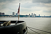 Looking from the pier of The Intrepid Sea, Air & Space Museum in NYC towards Liberty Skyline in West New York, New Jersey.