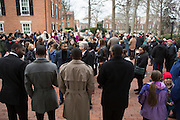 People gather in front of Galbreath Memorial Chapel to prepare for the Martin Luther King Jr. Silent March on Jan. 16, 2017.