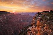 Sunrise from the Walhalla Plateau on the North Rim of Grand Canyon National Park in Arizona.