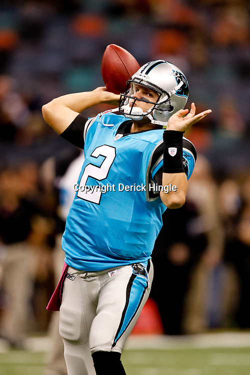 October 3, 2010; New Orleans, LA, USA; Carolina Panthers quarterback Jimmy Clausen (2) during warm ups prior to kickoff of a game between the New Orleans Saints and the Carolina Panthers at the Louisiana Superdome. Mandatory Credit: Derick E. Hingle