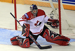 Goalkeeper Pascal Leclaire  at ice-hockey match Canada vs Latvia (with replika jerseys from year 1936) at Preliminary Round (group B) of IIHF WC 2008 in Halifax, on May 04, 2008 in Metro Center, Halifax, Nova Scotia, Canada. (Photo by Vid Ponikvar / Sportal Images)