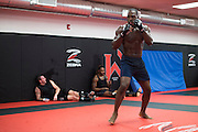UFC middleweight Derek Brunson of North Carolina shadow boxes between sparing at Jackson Wink MMA in Albuquerque, New Mexico on June 9, 2016.