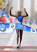 Gladys Cherono (KEN) celebrates after winning the women's race in 2:20.23 during the 44th Berlin Marathon in Berlin, Germany on Sunday, September 24, 2017. (Jiro Mochizuki/Image of Sport)