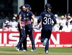 Laura Marsh of England Women celebrates with teammates after taking the wicket of Shashikala Siriwardena of Sri Lanka Women - Mandatory by-line: Robbie Stephenson/JMP - 02/07/2017 - CRICKET - County Ground - Taunton, United Kingdom - England Women v Sri Lanka Women - ICC Women's World Cup Group Stage