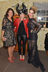 Left to right, AVERYL OATES, OLIVIA McCALL and MARISSA HERMER at the Bumpkin Halloween Dinner hosted by Marissa Hermer held at Bumpkin, 119 Sydney Street, London on 23rd October 2014.