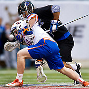 April 01,  2012: Syracuse midfielder Ricky Buhr (46) and Duke attack Will Haus (6) fight for the ball during the Big City Classic at  Met Life Stadium in East Rutherford, New Jersey . Duke defeated Syracuse 12-10. (Credit Image: © Kostas Lymperopoulos/Cal Sport Media)