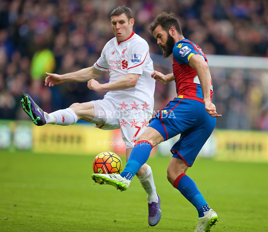 LONDON, ENGLAND - Sunday, March 6, 2016: Crystal Palace's captain Mile Jedinak in action against Liverpool's James Milner during the Premier League match at Selhurst Park. (Pic by David Rawcliffe/Propaganda)