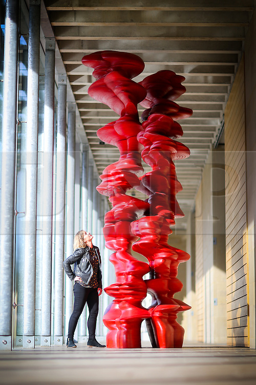 © Licensed to London News Pictures. 02/03/2017. Wakefield UK. Nina Rogers looks at a Tony Cragg sculpture at Yorkshire Sculpture Park today. Tony Cragg's largest UK exhibition opens today at the Yorkshire Sculpture park, A Rare Category of Objects, the exhibition features more than 170 sculptures & works on paper drawn from nearly five decades of Cragg's practice, the exhibition demonstrates the artist's pioneering & continued mastery of materials.  Photo credit: Andrew McCaren/LNP