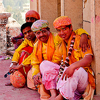 Typical outfit for the celebration. People dressed up with colorful dress. Braj ki Holi