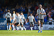 Gillingham FC defender Gabriel Zakuani (6) smiles after Gillingham score a goal (2-1) during the EFL Sky Bet League 1 match between Gillingham and Burton Albion at the MEMS Priestfield Stadium, Gillingham, England on 11 August 2018.