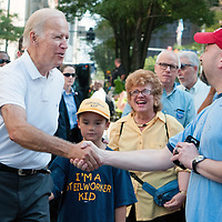 Vice President Joe Biden walks the parade route at the Allegheny County Labor Day Parade and pauses to greet supporters  in Pittsburgh on September 7, 2015.  Photo by Archie Carpenter/UPI