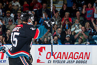 KELOWNA, CANADA - SEPTEMBER 24: Cal Foote #25 of the Kelowna Rockets celebrates a goal against the Kamloops Blazers on September 24, 2016 at Prospera Place in Kelowna, British Columbia, Canada.  (Photo by Marissa Baecker/Shoot the Breeze)  *** Local Caption *** Cal Foote;