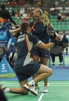 Jens Eriksen and Mette Schjoldager (Denmark) celebrate their victory over No.8 seeds Nova Widianto and Vita Marissa (Indonesia) in the Badminton Mixed Doubles 1/4 Finals, Athens Olympics, 16/08/204. Credit: Colorsport / Matthew Impey DIGITAL FILE ONLY
