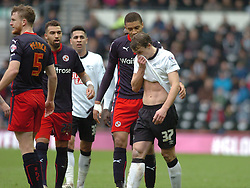 Derby Stephen Earnock walks of after been given Red Card,  Derby County v Reading, FA Cup 5th Round, The Ipro Stadium, Saturday 14th Febuary 2015