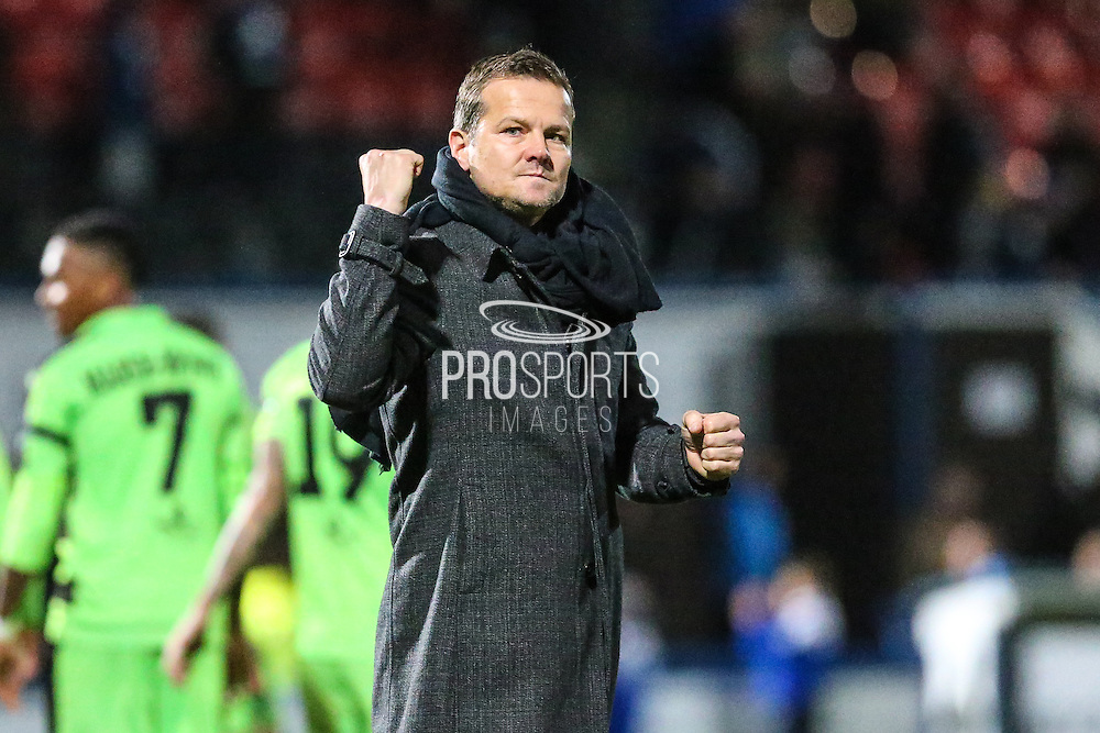 Forest Green Rovers manager, Mark Cooper acknowledges the fans at the end of the match during the Vanarama National League match between Macclesfield Town and Forest Green Rovers at Moss Rose, Macclesfield, United Kingdom on 12 November 2016. Photo by Shane Healey.