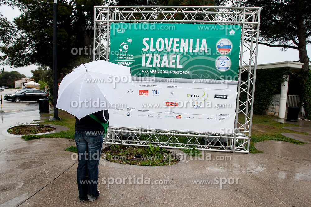 Second day of Davis cup Slovenia vs. Israel was cancelled due to bad weather on April 5, 2014 in Portoroz, Slovenia. Photo by Urban Urbanc / Sportida