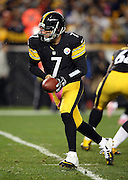 Pittsburgh Steelers quarterback Ben Roethlisberger (7) hands off the ball on a running play during the NFL week 7 regular season football game against the Houston Texans on Monday, Oct. 20, 2014 in Pittsburgh. The Steelers won the game 30-23. ©Paul Anthony Spinelli