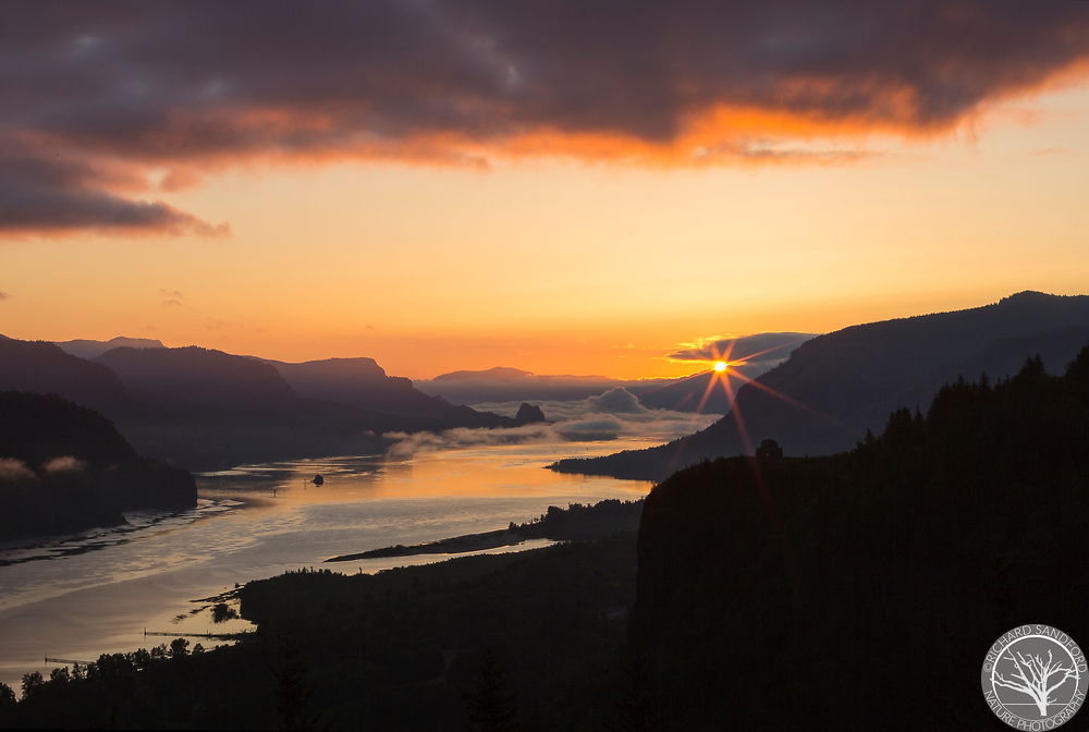 Sunrise illuminates the Columbia River Gorge on a foggy morning, with beautiful orange and yellow light. This image captured at the Portland Women's Center.
