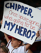 ATLANTA, GA - SEPTEMBER 15:  A young fan in the stands holds up a sign for Chipper Jones #10 of the Atlanta Braves (not pictured) during the game between the Atlanta Braves and the Washington Nationals at Turner Field on September 15, 2012 in Atlanta, Georgia.  (Photo by Mike Zarrilli/Getty Images)