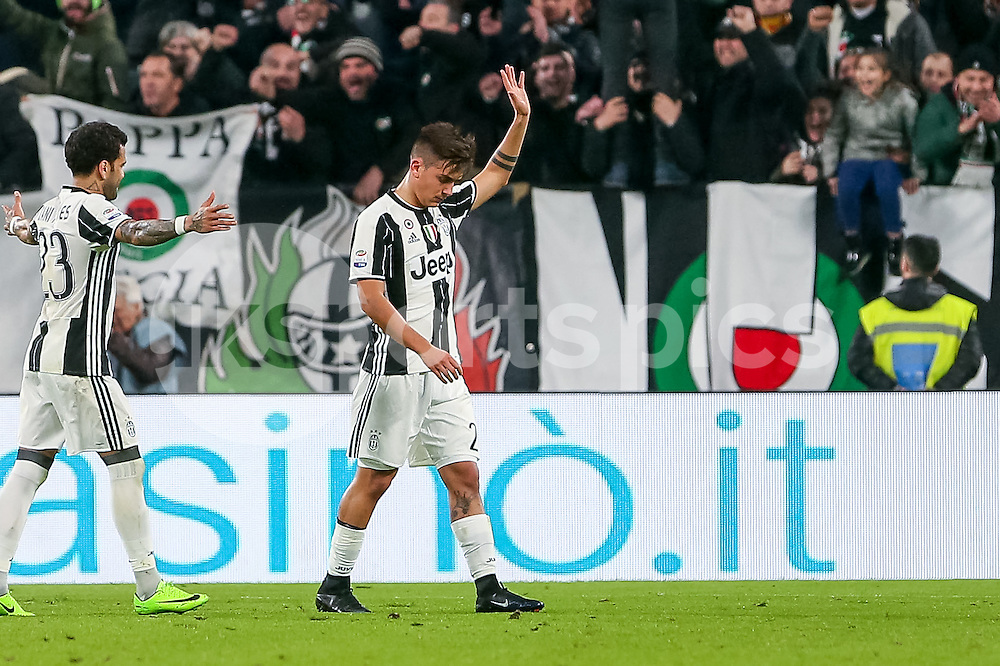 Paulo Dybala of Juventus does not celebrates for the goal to make it 2-0 for respect to his former team during the Serie A match between Juventus and Palermo at the Juventus Stadium, Turin, Italy on 17 February 2017. Photo by Marco Canoniero.