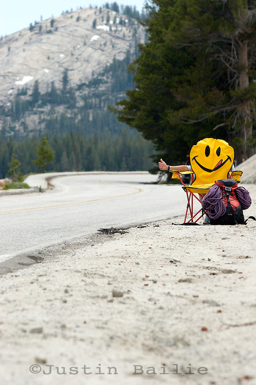 Happy face chair hitch hiking in Yosemite National Park, CA