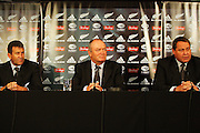 The All Blacks coaching panel: Wayne Smith, Graham Henry and Steve Hansen.<br /> All Blacks end-of-year tour team announcement, NZRU HQ, Wellington. Sunday, 26 October 2008. Photo: Dave Lintott/PHOTOSPORT