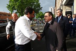 SALVINI CON MICHELE CAMPANARO<br /> MATTEO SALVINI MINISTRO DELL'INTERNO E LEADER LEGA A FERRARA PER SOSTENERE LA CANDIDATURA A SINDACO DI ALAN FABBRI