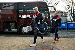 Jason Woodward and Billy Searle of Bristol Rugby arrive at the ground - Rogan Thomson/JMP - 03/12/2016 - RUGBY UNION - Kingsholm Stadium - Gloucester, England - Gloucester Rugby v Bristol Rugby - Aviva Premiership.