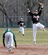 Minisink Valley's Josh Rivera starts to slide into second base as Delaware Valley (Pa.) shortstop Matt River leaps for the high throw during a baseball game in Westfall Township, Pa., on Monday, April 1, 2013.